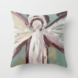 Impressionistic Angel #2 Maroon & Ivory Throw Pillow