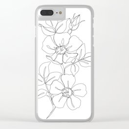 Floral one line drawing - Rose Clear iPhone Case