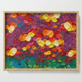 Rainbow Bubbles teardrop rain abstract painting Serving Tray