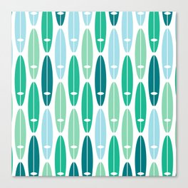 Vintage Surf Boards in Turquoise, Teal and Blue Canvas Print