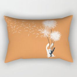 Bunny and Dandelion Bouquet Rectangular Pillow