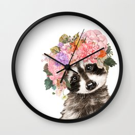 Baby Raccoon with Flowers Crown Wall Clock