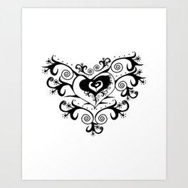 Tribal Heart - White & Black (White Background) Art Print