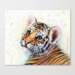 Tiger Cub Watercolor Cute Baby Animals Canvas Print
