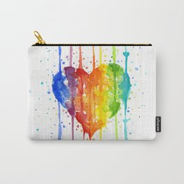 Heart Rainbow Watercolor Colorful Heart Painting Carry-All Pouch