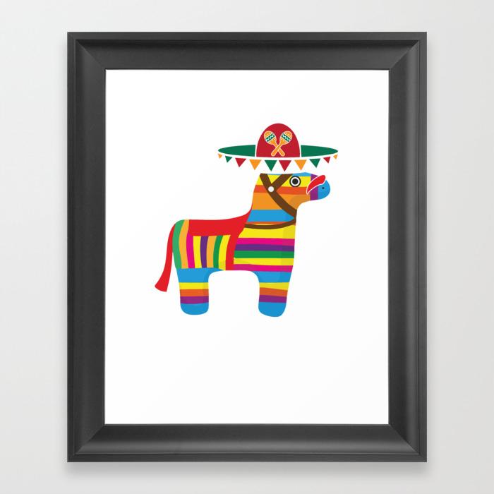 Pinata With Sombrero Mustache Cinco De Mayo Framed Art Print by Teepsy FRM8927497
