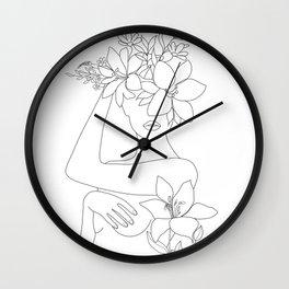 Minimal Line Art Woman with Flowers VI Wall Clock