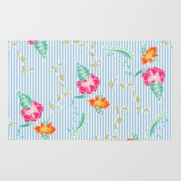 Modern trendy baby blue stripes tropical bright floral pattern Rug