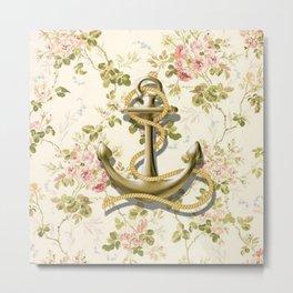 modern vintage beige floral nautical golden anchor Metal Print