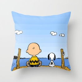 Charlie Brown Snoopy On Dock Throw Pillow