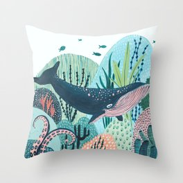 Happy Blue Whale Throw Pillow