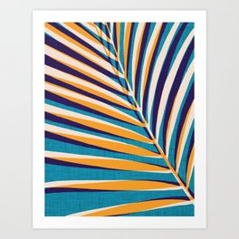 Gold and Navy Abstract Palm Frond Art Print