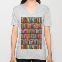 Vintage Books / Christmas bookshelf & holly wallpaper / holidays, holly, bookworm,  bibliophile Unisex V-Neck