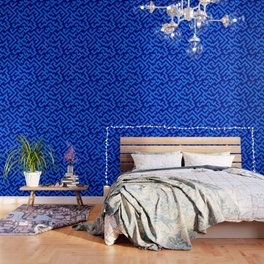 Brandeis Blue and Navy Blue Diagonal Labyrinth Wallpaper