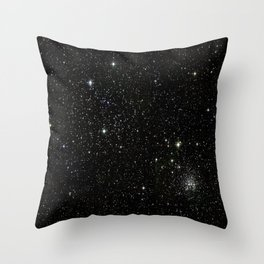 Universe Space Stars Planets Galaxy Black and White Throw Pillow