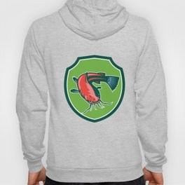 Catfish Mud Cat Black Bullhead Shield Retro Hoody
