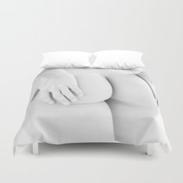 1727-JAL B&W Nude Woman Rear View Hands on Bottom Classic Female Form Beautiful Art Nude Chris Maher Duvet Cover