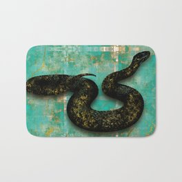Black Snake on Old Teal Paint texture Bath Mat