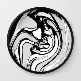 Black, White and Gray Graphic Paint Swirl Pattern Effect Wall Clock