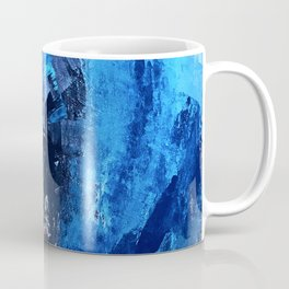 Vortex: a vibrant, blue and gold abstract mixed-media piece Coffee Mug