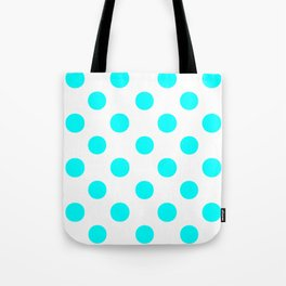 Polka Dots (Aqua Cyan/White) Tote Bag