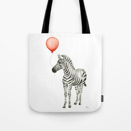 Baby Zebra with Red Balloon Tote Bag
