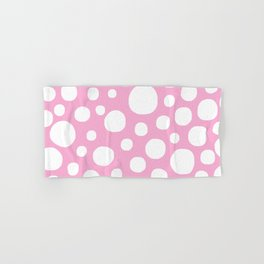 Pink Negative Dots w/ White Background Hand & Bath Towel