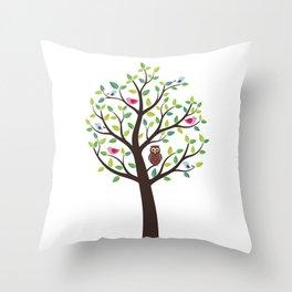 The bird tree guardian Throw Pillow