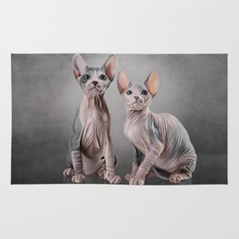 Drawing two cats Sphynx, hairless Rug