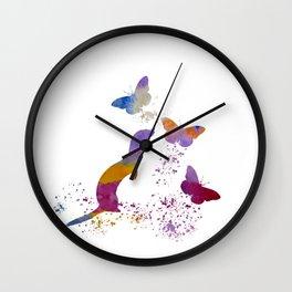 Ferret and butterflies Wall Clock