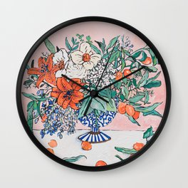 California Summer Bouquet - Oranges and Lily Blossoms in Blue and White Urn Wall Clock