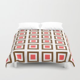 Chocolate Brown + Coral: Pattern No. 13B Duvet Cover
