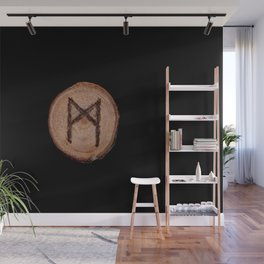 Mannaz - Wooden Celtic Rune of self, individuals, universe, family, loved ones, friends, devoted Wall Mural