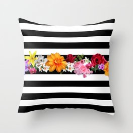 flowers on black and white stripes Throw Pillow