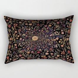 Medieval Flowers on Black Rectangular Pillow