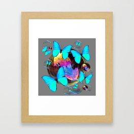 SURREAL NEON BLUE BUTTERFLIES  & SOAP BUBBLES GREY Framed Art Print
