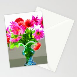 Green vase with bright colors Stationery Cards