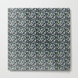 Black, Blue and White Abstract Brick Pattern Metal Print