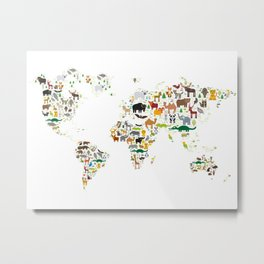 Cartoon animal world map for children and kids, Animals from all over the world on white background Metal Print
