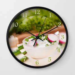 Glass bowl of cottage cheese Wall Clock
