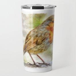 Christmas Robin Winter Watercolor Travel Mug
