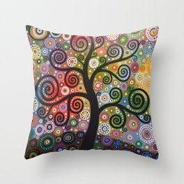Abstract Art Landscape Original Painting ... Tree of Wishes Throw Pillow