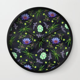 Smokeable Hallucinogenic Plants Pattern Wall Clock