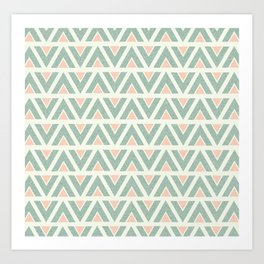 Paper triangles - Pink and Green Art Print