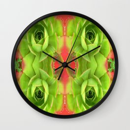 Succulence .. Cactus Flowers on Green and Coral Wall Clock