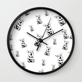 Welsh Corgi Dog Black White Brown Wall Clock