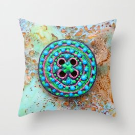 Button for happiness Throw Pillow