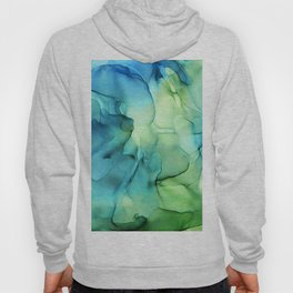 Blue Green Spring Marble Abstract Ink Painting Hoody