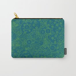 Clockwork Turquoise & Lime / Cogs and clockwork parts lineart pattern Carry-All Pouch