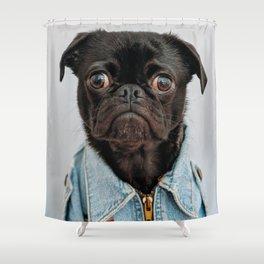 Cute Black Dog - Face Portrait Shower Curtain